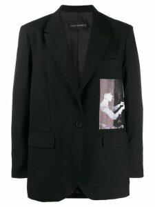 Yuiki Shimoji graphic print oversize blazer - Black