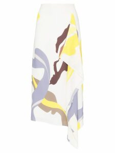 Tibi abstract print asymmetric midi skirt - Multicolour