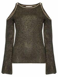 Peter Pilotto glittered cold-shoulder jumper - Black