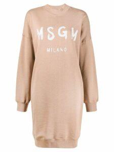 MSGM logo print sweatshirt dress - Brown