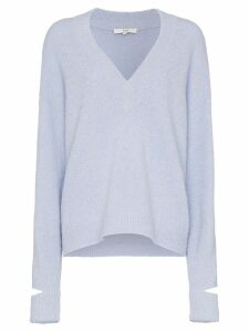 Tibi plunge neck oversized jumper - Blue