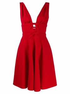 Miu Miu bow detail plunge dress - Red