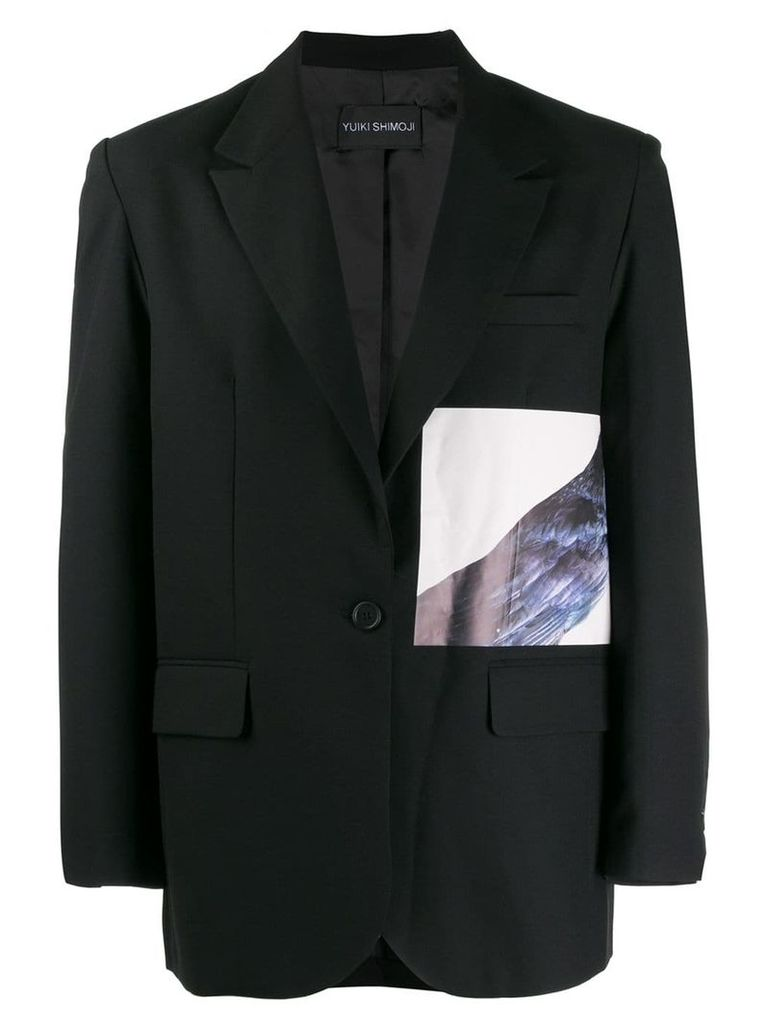 Yuiki Shimoji Crow printed patch blazer - Black