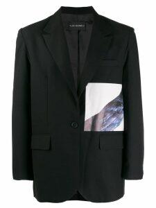 Yuiki Shimoji Crow printed patch blazer - Black