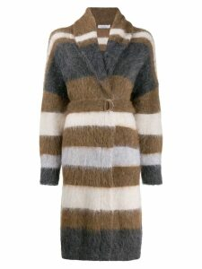 Brunello Cucinelli textured cardigan coat - Brown