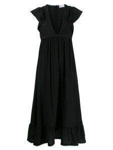 Red Valentino frill detailed V-neck dress - Black
