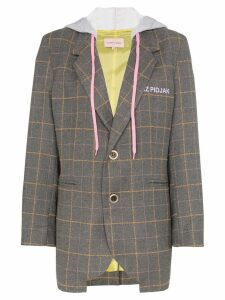 Natasha Zinko hooded checked blazer - Grey