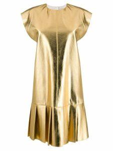 MSGM pleated shift dress - GOLD
