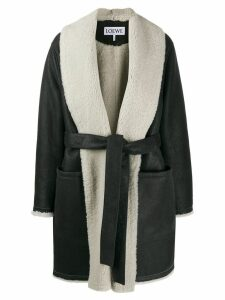 Loewe shearling lining belted coat - Black