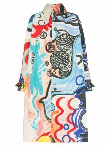 Charles Jeffrey Loverboy painted mural denim overcoat - Multicolour