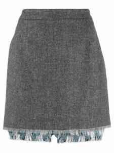 Thom Browne Cardigan Mini Skirt W/Lace Trimmed Bloomer - Grey