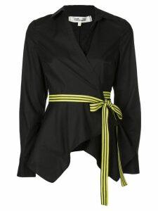 Diane von Furstenberg Leah asymmetrical wrap shirt - Black