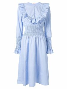 Tory Burch ruffle bib midi dress - Blue