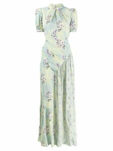 Self-Portrait floral print ruched detail maxi dress - Green