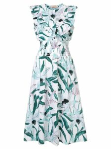 Tory Burch floral ruffle bib dress - Multicolour