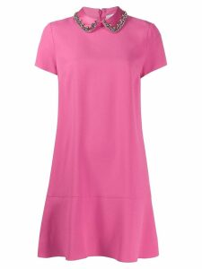 Red Valentino embellished peter pan collar dress - Pink