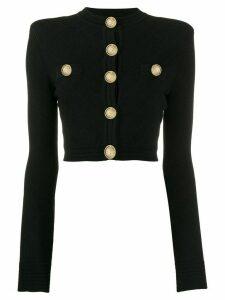 Balmain gold-tone embellished cropped cardigan - Black