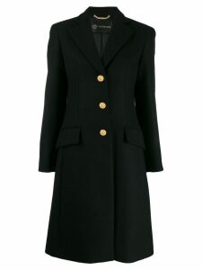 Versace single-breasted wool coat - Black