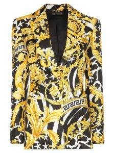 Versace Baroque-print single-breasted blazer - Black