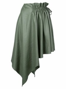 Adeam draped asymmetric midi skirt - Green