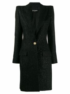 Balmain single breasted fitted long coat - Black