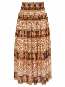 Zimmermann Suraya smocked elephant print skirt - Brown
