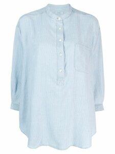Closed grandad collar tunic shirt - Blue