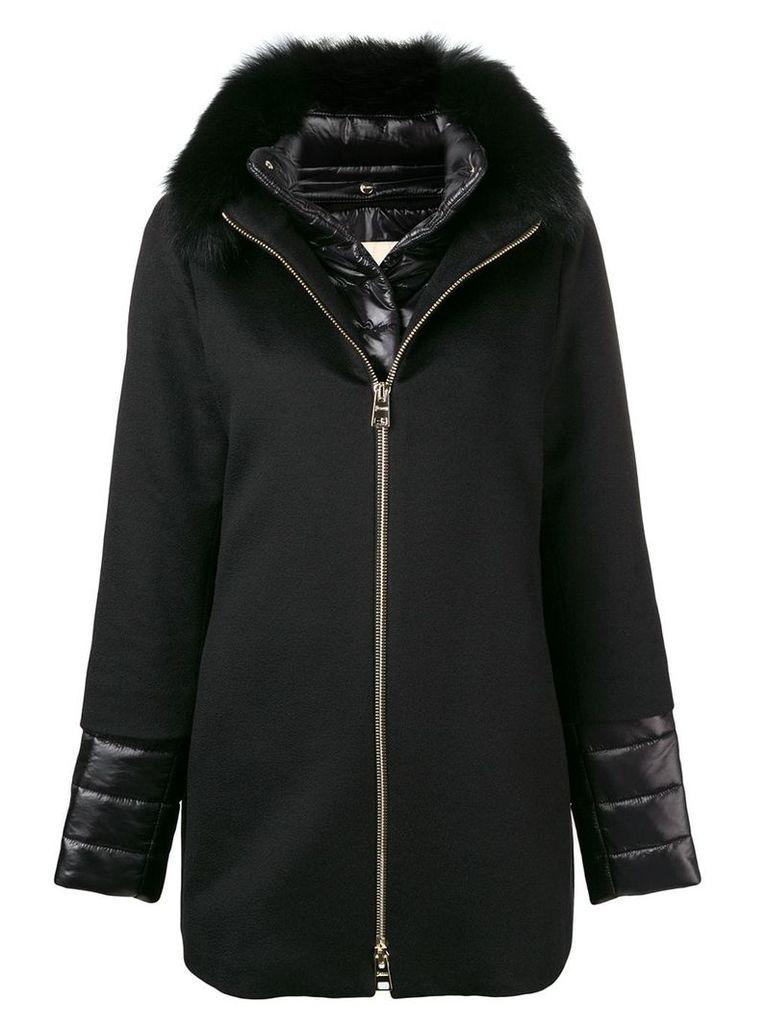 Herno fox fur collar coat - Black