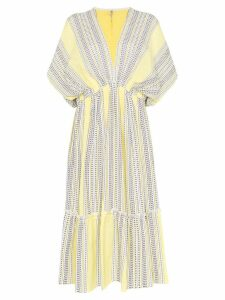 Lemlem Amira plunge neck tiered dress - Yellow