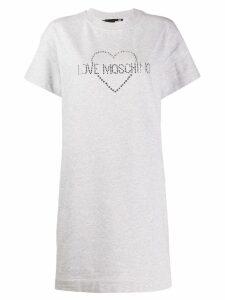 Love Moschino studded logo T-shirt dress - Grey