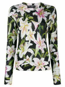 Dolce & Gabbana floral-print jumper - Black