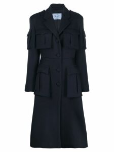Prada military midi coat - Blue