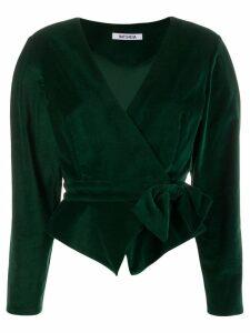 Batsheva velvet wrap cropped blazer - Green