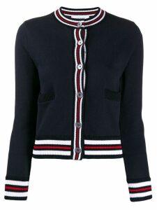 Thom Browne contrast ribbed trim cardigan - Blue