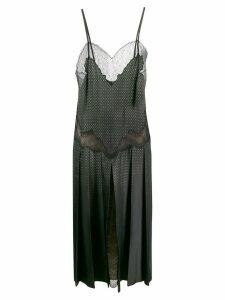 Fendi sleeveless lace panelled dress - Green