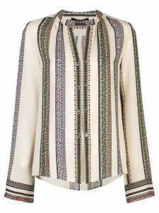 Derek Lam Printed Provincal Striped Kara Blouse with Button Detail -