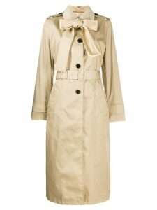 Prada bow detailed trench coat - Neutrals