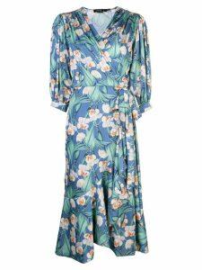 Patbo floral midi wrap dress - Blue