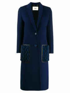Fendi cashmere double-breasted long coat - Blue