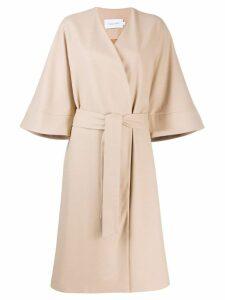 Calvin Klein belted wrap coat - Neutrals