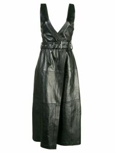 Proenza Schouler Glossy Leather Belted Dress - Black