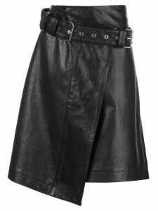 Proenza Schouler Glossy Leather Belted Skirt - Black
