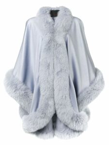 Liska fox fur trim cape coat - Blue