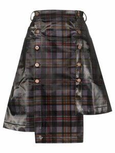 Delada asymmetric checked skirt - Red