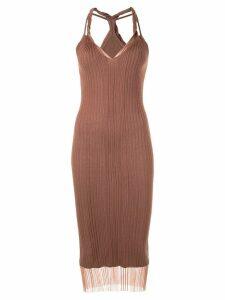 Dion Lee sheer knit twist tank-dress - Brown