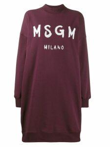 MSGM logo jumper dress - Red