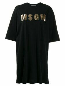 MSGM sequin logo T-shirt dress - Black