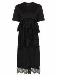 Simone Rocha lace-trim tiered midi-dress - Black