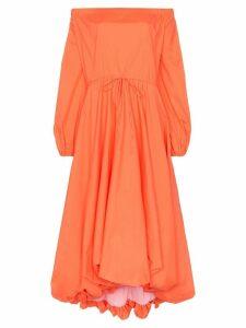 Staud off-the-shoulder puffed poplin dress - Orange