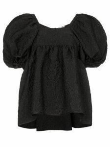 Cecilie Bahnsen puff-sleeve textured top - Black